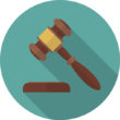 Judge gavel or auction hammer icon with long shadow. Flat design style. Modern round icon. Judge hammer silhouette. Simple circle icon. Web site page and mobile app design vector element.